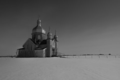Maybe That Prophet Scared You. (Fistfulofpowder) Tags: abandoned alberta church redwater abandonment black white sky snow winter landscape shadows light cross crosses decay decayed