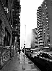 Morning Fog (Robert S. Photography) Tags: fog sidestreet building rain rainyday spring man walking bw monochrome brooklyn brightonbeach nyc sony dscwx150 iso100 april 2018