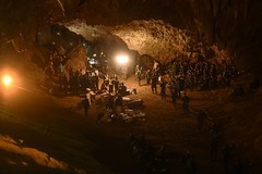 """""""Operation Thai Cave Rescue,"""" Discovery Channel (beingjellybeans) Tags: topshots horizontal accident cave flood team rescue night lighting emergencyservices armedforces soldier spotlight topix bestof chiangrai thailand tha"""