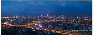 A panoramic view of Taipei and its major artery, Hwy 1, Taipei, Taiwan