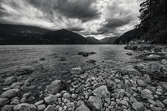 Oliver's Landing (martincarlisle) Tags: oliverslanding furrycreek howesound britishcolumbia canada seatoskyhighway highway99 fjord clouds trees inlet canonm6 blackandwhite captureonepro11 tkactions nwn