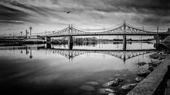 The bridge across the Volga river (Unicorn.mod) Tags: 2018 monochrome blackandwhite blackwhite bw landsape cityscape bridge river water outdoor clouds canoneos6d canon canonef24105mmf4lisusm april spring tver