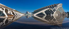 Reflection perfection - 16 shot panorama (sarahOphoto) Tags: reflection city arts sciences valencia spain architecture buildings modern water pool still white blue sky early morning landscape panorama panoramic canon 6d santiago calatrava lhemisfèric hemisferic el palau de les museu ciències príncipe felipe umbrackle lumbracle opera house museum reina sofia urban