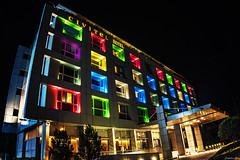 Which colour is you...?! (Constantinos_A) Tags: sony alpha a6300 building hotel architecture front entrance colors colours red green blue yellow purple athens greece