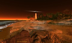Sunset at Cape Florida Lighthouse (cejalaval) Tags: secondlife sl shadows scenic slphotography sunset beach capefloridalighthouse landscape lighthouse sand firestorm windlight