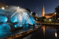 Civic Park (WayneG58) Tags: winter sculpture light water night longexposure church park fountain newsouthwales australia au