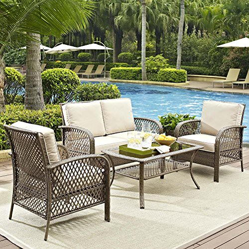 Cheap Tribeca 4 Piece Deep Seating Group Outdoor Patio Conversation Set – UV Protection Wicker Rattan Steel Frame Furniture – High Grade Waterproof Fade Resistant Cushions – Glass Coffee Table – Loveseat Chair Clearance – Brown – FREE REPLACEMENT GUARANTE