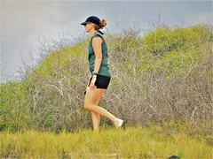 Manini'owali Beach (thomasgorman1) Tags: trail hiking beach plants grass overcast island candid woman hiker walking nature outdoors exercise fujifilm coast