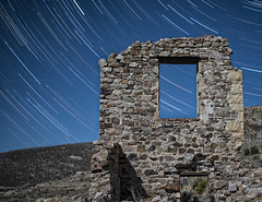Window (magnetic_red) Tags: stars startrails sky night desert ruins wall stone crumbling ancient ghosttown delamar nevada longexposure multipleexposure window