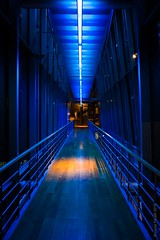 the orange at the end of the blue (simone.pelatti) Tags: blue museum orange dark light tunnel prospective lines convergence