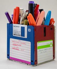 Floppy caddy (LFLamb) Tags: scrap durhamscrapexchange pens markers floppy disk disc