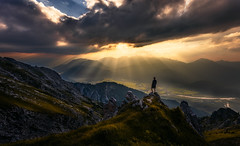 Sunset Extravaganza (One_Penny) Tags: bayern deutschland alps bavaria landscape mountains nature photography schoettelkarspitze soiernsee valley rocks portrait selfportrait light rays sunray clouds sunset sundown dramatic view hiking peak karwendel outdoor adventure germany sun colors colorful