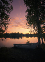 Aah...vacation (petrisalonen) Tags: summer sunset finland fin nature landscape light sunlight orange yellow boat water river vuoksi imatra trees sky red clouds green holiday vacation fire reflection summernight night feeling warm