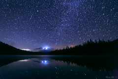 (Masako Metz) Tags: night sky stars shootingstar mthood mountain lake summer reflection oregon pacific northwest usa america forest
