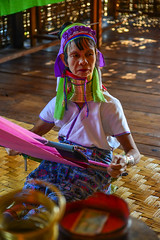 Kayan woman (Long Neck People) (phuong.sg@gmail.com) Tags: adornment armlet asia asian bangle bracelet brass burmar colorful decoration device elongating fabrics heavy inlay inle karen kayan lake long longnecked minority myanmar national neck one ornament padaung people ring scarf shanstate shop spin spiral textile tourism tradition traditional travel tribe village weave white woman workshop yarn