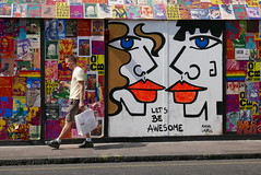 Let's be awesome! (C_Oliver) Tags: london oldcomptonstreet poster posters graffiti mural streetart annalaurini england w1 oldcomptonbrasserie brasserie advertising advertisement soho