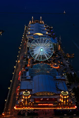 The Chicago Skyline as viewed from Lake Point Tower, Chicago (Symbiosis) Tags: chicago lakemichigan lakeshoredrive navypier skyline skyscrapers chicagoil chicagoskyline nightlife lakepointtower bigwheel lighthouse ferriswheel chicagochildrensmuseum