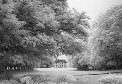 Perfect Chateau (peterphotographic) Tags: ©peterhall normandy normandie france img0145sefexedwm infrared canon a800 nik silverefexpro2 blackandwhite bw monochrome blackwhitephotos chateau house building tree garden estate perfectchateau vauxsuraure