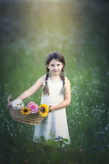 :: flower girl :: (mjcollins photography) Tags: little young girl field wild green flowers flower summer outside