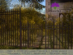 Thistle Iron Fence Set (Liz Gealach) Tags: thistlehomes lizgealach secondlife sl thistle homes home prefab house furniture deco fence wrought iron cosmopolitan