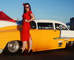 Holly_9273 (Fast an' Bulbous) Tags: classic american car chevy shoebox racecar santa pod pinup girl woman hot sexy chick babe long brunette hair red wiggle dress high heels stockings nylons
