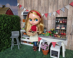 4. Farmer girl (Foxy Belle) Tags: diorama farm stand barn food produce summer doll barbie blythe 16 scale dollhouse miniature ooak diy shabby farmhouse style chalkpaint chalkboard craft handmade crafted hand farmers market harvest gray white grass outside yard store business country wood wooden paper