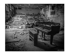 Abandoned Piano (mikem_photo) Tags: pripyat chernobyl abandoned urbex exclusion zone decay mono piano bw forgotten ruins monochrome