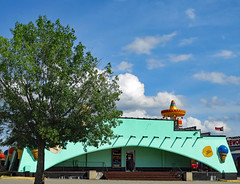 Ice Cream Shop And Tree. (dccradio) Tags: hamer sc southcarolina dilloncounty dillon sky bluesky clouds outdoor outdoors outside tree greenery foliage leaf leaves building architecture southoftheborder roadsideattraction travel touristattraction sombrero green icecreamshop restaurant icecreamparlor pavement flag step steps stairs canon powershot elph 520hs
