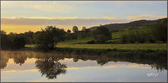 Morning Reflections.. part 2.... (Picture post.) Tags: landscape nature green water reflections sunrise trees bluesky paysage arbre eau mist clouds hills