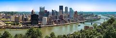 Pittsburgh pano 1 (Ed Rosack) Tags: clear usa panorama road bridge river water buildingandarchitecture pennsylvania pittsburgh ©edrosack hills sky tree building