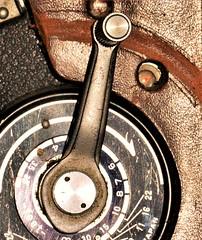 wear and tear (jenbrasnett) Tags: macromondays photographygear minolta autocord lever wornleather case macro