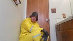 Underlayer 2 (ac_343) Tags: tags yellow black rainwear raincoat rubber rubberboots fun souwester raingear