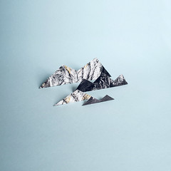 Paper Mountains (josemanuelerre) Tags: minimal mountain paper nature tiny stilllife blue newspaper magazine homemade craft cute model snow winter sky cold ice white peak ski alps panorama cloud glacier hill travel alpine beautiful frozen rock photograph concept create architecture pointy artwork cool popart icon minimalism scene landscape imagination perspective 2d