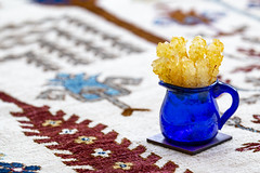 Central Asia Staging (mopics347) Tags: turkmen inspired carpet rug persian central asia blue glass saffron rock candy yellow white red tree life iran iranian stick pitcher blueglass sugar qadimi traditional