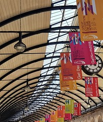 Central Station Roof Curve - Great Exhibition (Gilli8888) Tags: newcastle newcastleupontyne tyneandwear quayside architecture samsung cameraphone centralstation railwaystation roof curve posters