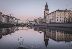 I Love Gothenburg (explored) (Fredrik Lindedal) Tags: gothenburg göteborg water longexposure lamp light city cityscape cityview reflection reflections dawn church sverige sweden fineart lindedal