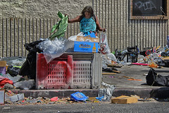Salvage (Russ Allison Loar) Tags: downtownlosangeles skidrow homeless onthestreet streetpeople streetcamping affordablehousing shelter southerncalifornia innercity abandonedpeople discrimination laskidrow homelesswoman salvage trash litter refuse poverty