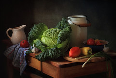 Still life with vegetables (Tatyana Skorokhod) Tags: stilllife brusselssprouts peppers onions tomatoes garlic kitchen onthetable indoors decor