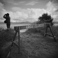 South Jetty #3 (LowerDarnley) Tags: holga oregon hammond columbiariver jetty sign areaclosed watching northwest pacificocean southjetty