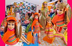 HELLO SKIPPER! (ModBarbieLover) Tags: skipper 1967 1968 1969 doll mattel barbie house stripes orange pink brunette curls mod fashion