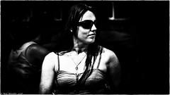 Dangerous Dames. (Neil. Moralee) Tags: neilmoralee woman lady girl dangerous filmnoir contrast extreme black white bw blackandwhite mono monochrome harsh beauty hemyock village face portrait profile dame female attractive neil moralee olympus omd em5 power powerful glasses sunnies dark wicked sinister frightning