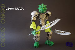 Toa Lewa Nuva (Harding Co.) Tags: lego bionicle constraction figure air ccbs green silver armour weapon katanas kanohi mask gears weapons toa nuva revamp g1 g2