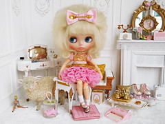 The Royal Spoon (Cossette...) Tags: blythe doll rbl mohair cossette outfit set dress petticoat bow spoon gold rement marx littlehostess sindy barbie sheep tulle ruffles rollerskates