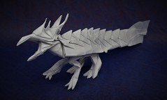 Origami Ryujin Jr. (Tankoda) Tags: origami paper art ryujin jr jason ku travis nolan tankoda 35 cm 14 inch kami dragon eastern sky no wings purple white blue mc background methyl cellulose hmmm