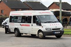 Sovereign, Willenhall HJ55 MKC, Ford Transit outside Cheltenham racecourse (majorcatransport) Tags: cheltenham westernmidlandsbuses sovereignwillenhall fordtransit ford