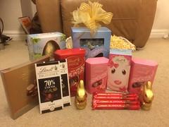 Phone pics (Elysia in Wonderland) Tags: lindt lindor competition win winner won prize dobbies garden centre facebook bunny chocolate hamper basket eggs easter lamb