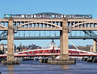 Trans Pennine Train and Newcastle Bridges