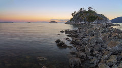 Whytecliff Park Sunset (Patrick Lundgren) Tags: vancouver columbia canada bc pacific northwest camera sony a7 a7rii full frame long exposure sunset night blue hour clouds sun water cloud sky orange pink red smooth reflection cityscape people photo beach rocks sea ocean bay rock mountain whytecliff park landscape