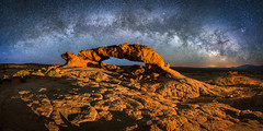 Celestial Arches (David Swindler (ActionPhotoTours.com)) Tags: escalante milkyway pano southwest stars sunsetarch utah desert night nightphotography nightscape panoramic