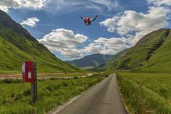Royal mail composite_G5A0391 (ronniefleming@btinternet.com) Tags: royalmail parachutist royalmailpostbox singletrackroad ph31fy ronniefleming glenetive glencoe scotland walkhighlands visitscotland blueskies clouds